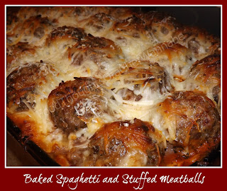 FoodThoughtsOfaChefWannabe: Baked Spaghetti and Stuffed Meatballs