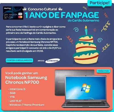 Concurso Cultural 1 ano de Fan Page - Cartão Submarino