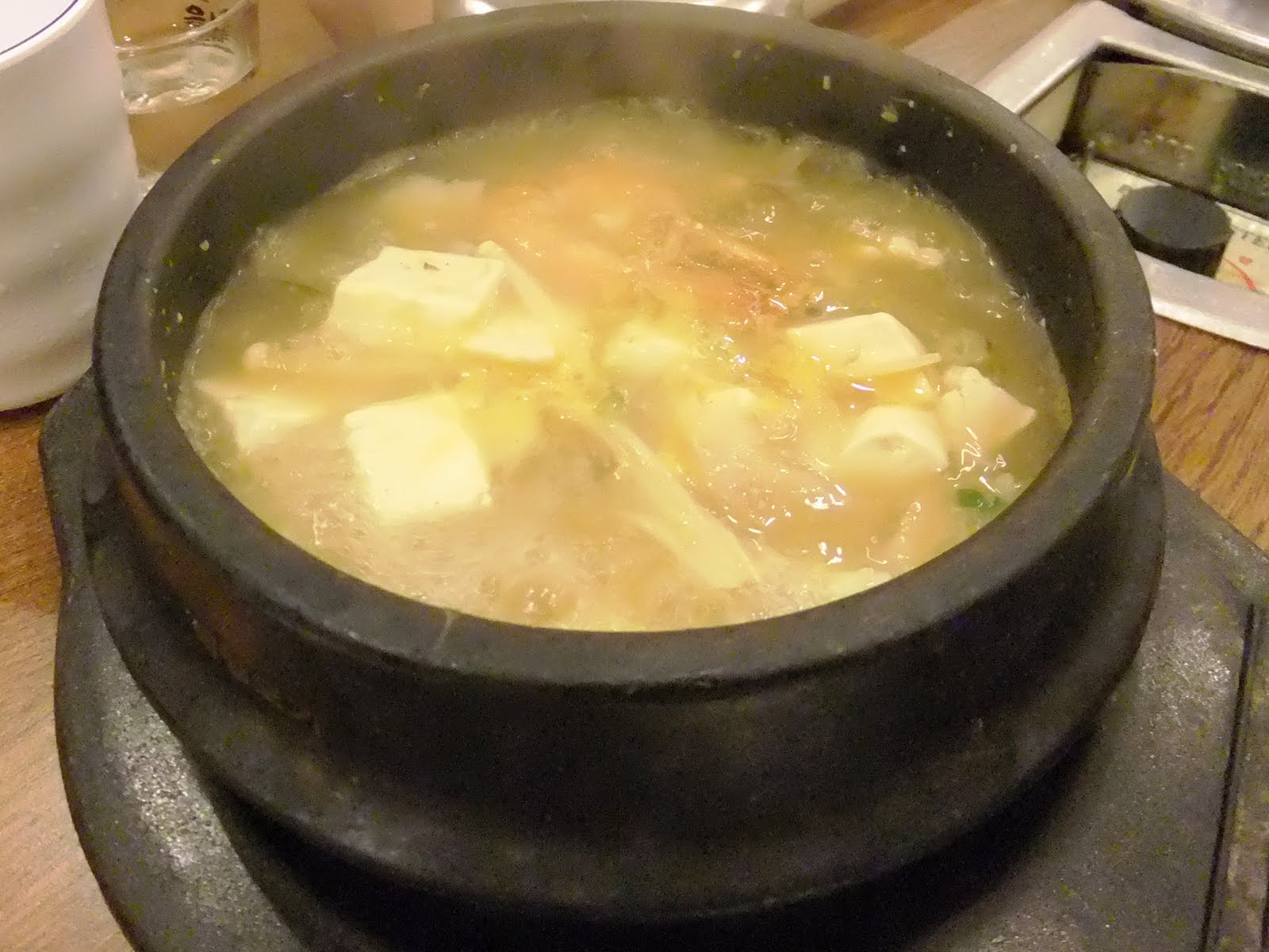 "soup of bean paste something like ""miso soup"" but this is Korean mi..."