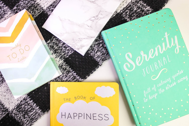 Stationery Notebook Journal Happiness Serenity Writing To Do List Marble Monochrome