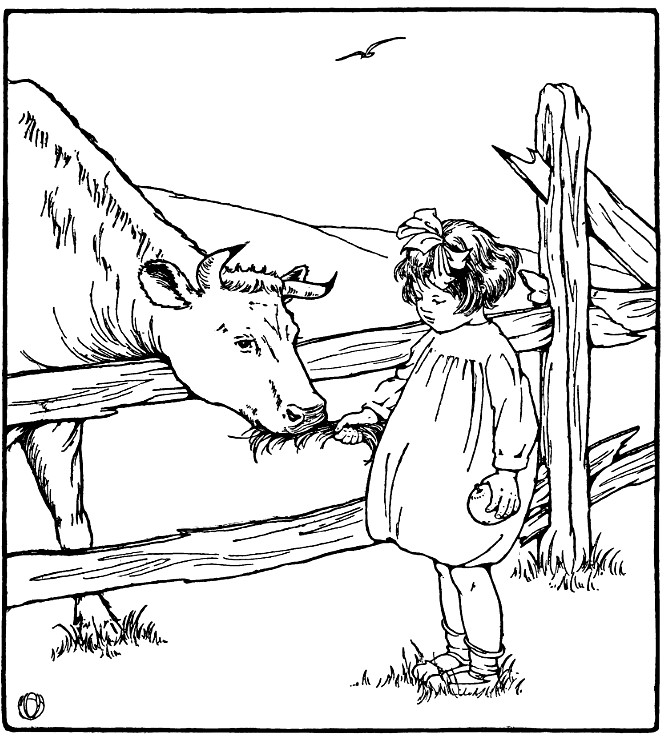niña con vaca para imprimir