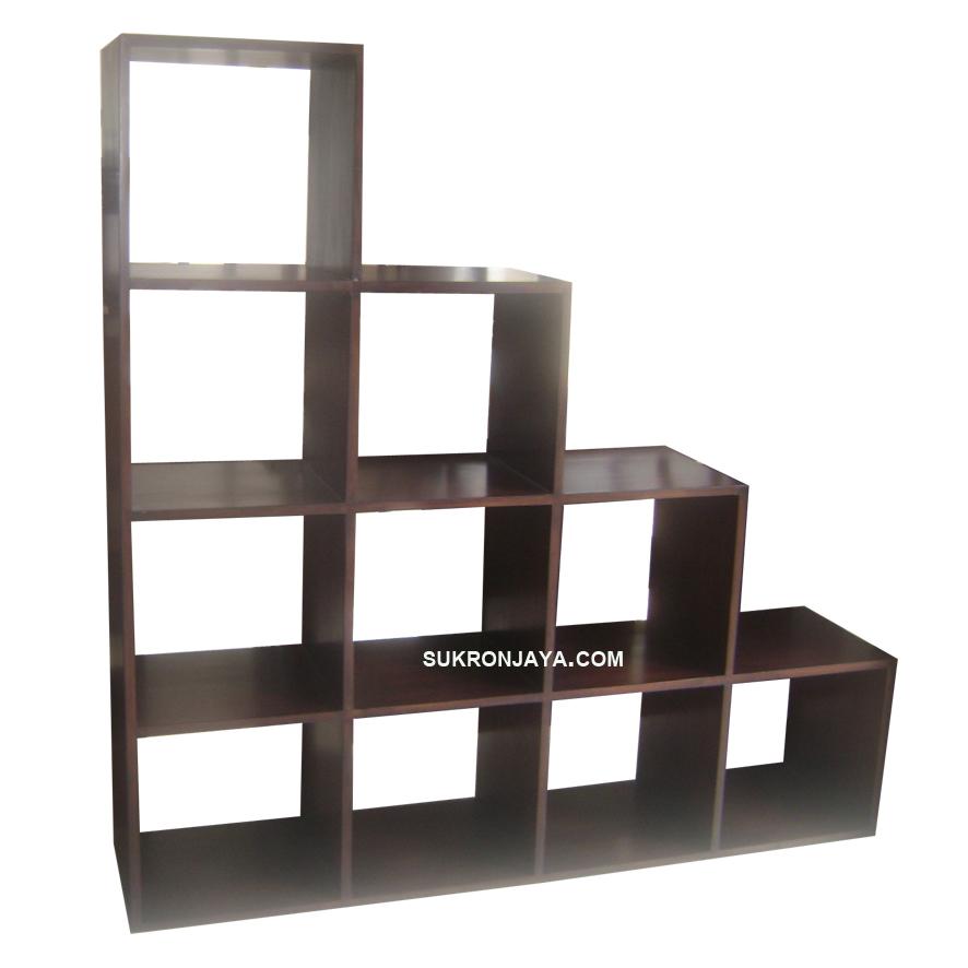 rak buku tangga 10 kotak - Sukron Jaya
