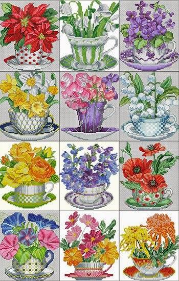 Вышиваем календарь teacup posies