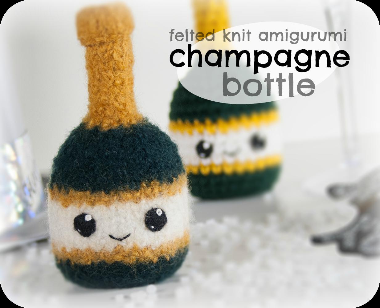 Felted Knit Amigurumi Champagne Bottle CraftyAlien Blog