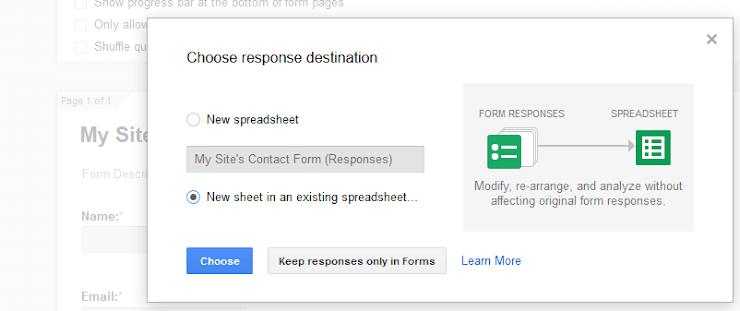 Target Google spreadsheet for form data