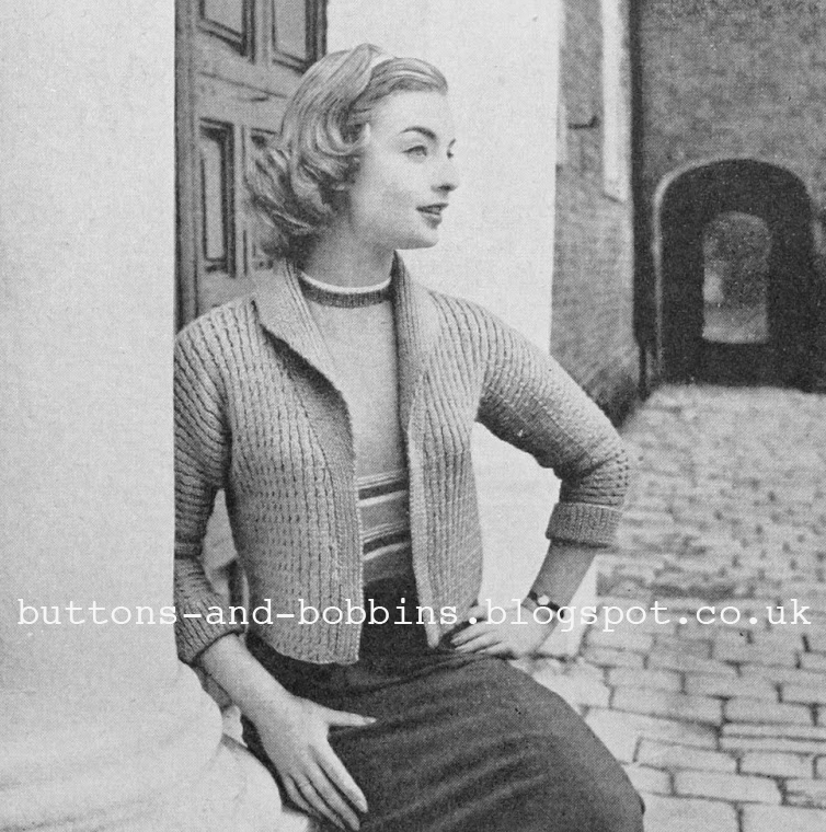 db986317bfe203 The Vintage Pattern Files  Free 1950 s Knitting Pattern - Jacket For Early  Spring