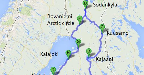 Roger the traveler Finland roadtrip map