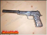homemade foundry, aluminum sand casting pistol  replica