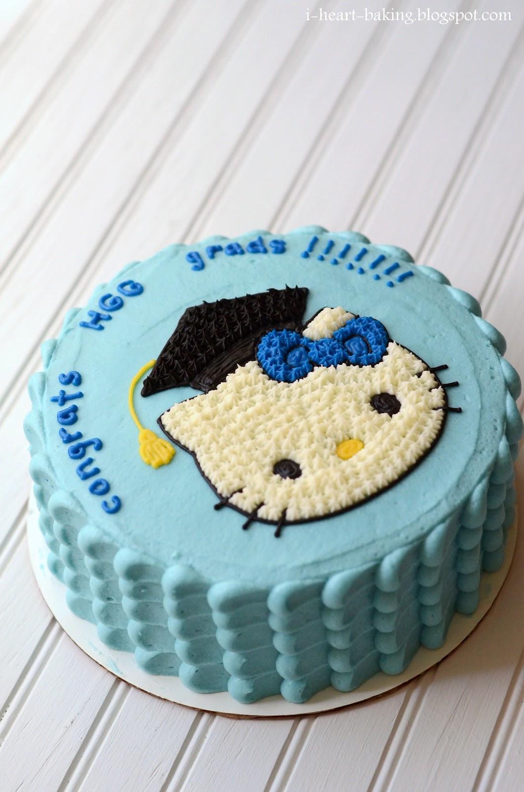 I Heart Baking Hello Kitty Graduation Cake