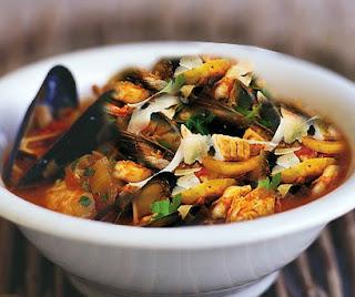 zuppa di pesce ai funghi