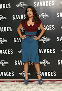 Salma Hayek poses at Savages Photocall in London