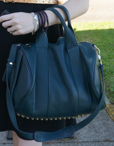 Alexander Wang dark argon teal rocco bag