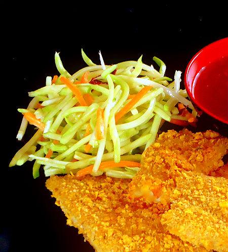 One perfect bite crispy fish sticks with broccoli carrot for Fish stick sauce