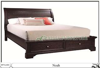 Tempat tidur minimalis jati laci noah