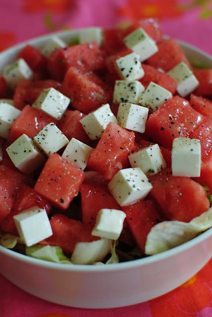 recept, vattenmelon, fetaost, isbergssallad
