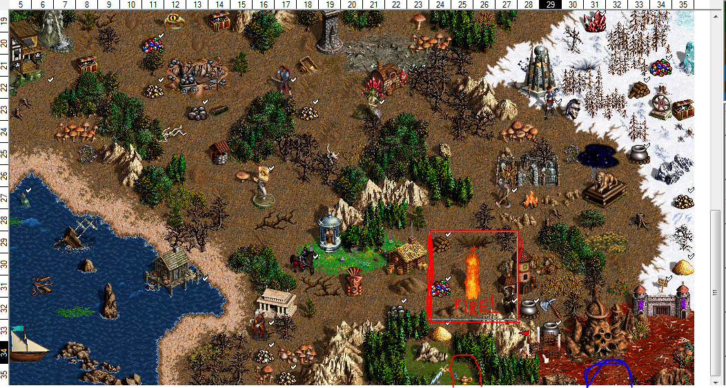 Heroes community missing map objects from map editor in hota here you may see aladins lamp and fire i circled them with a red circle gumiabroncs Image collections