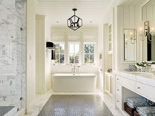 gray and white tile master bathroom