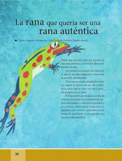 Apoyo Primaria Español Lecturas 6to Grado La rana que quería ser una rana auténtica
