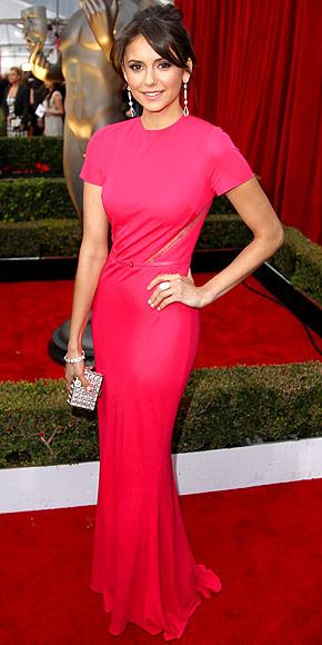 Nina Dobrev SAG dress, Elie Saab, Screen Actors Guild Awards fashion, SAG fashion