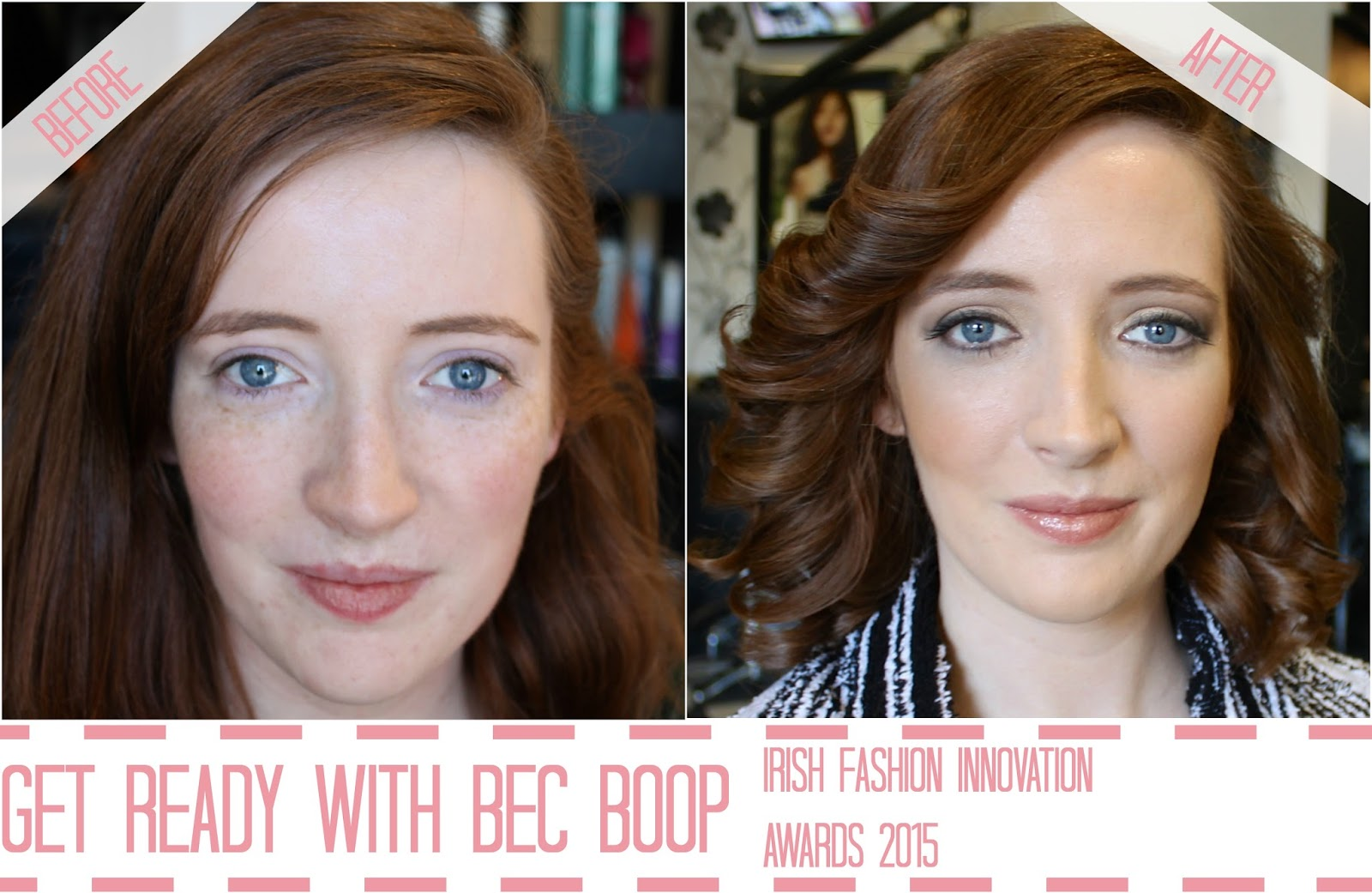Before and after photo of Bec Boop in Prestige Salon Galway