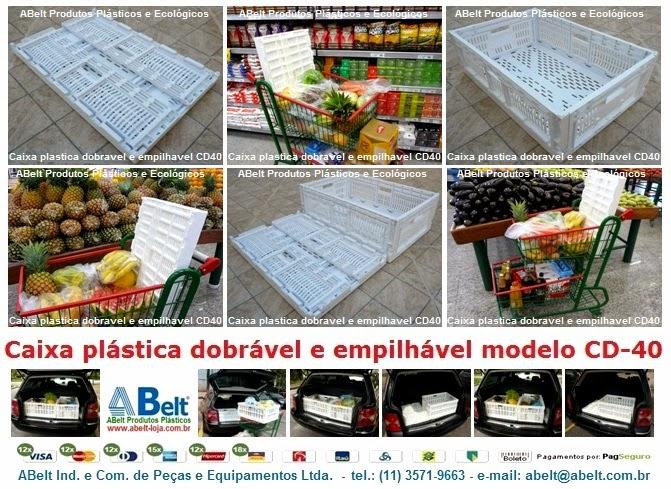 Caixa plastica dobravel para supermercado