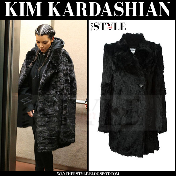 Kim Kardashian in black fur coat ann demeulemeester what she wore