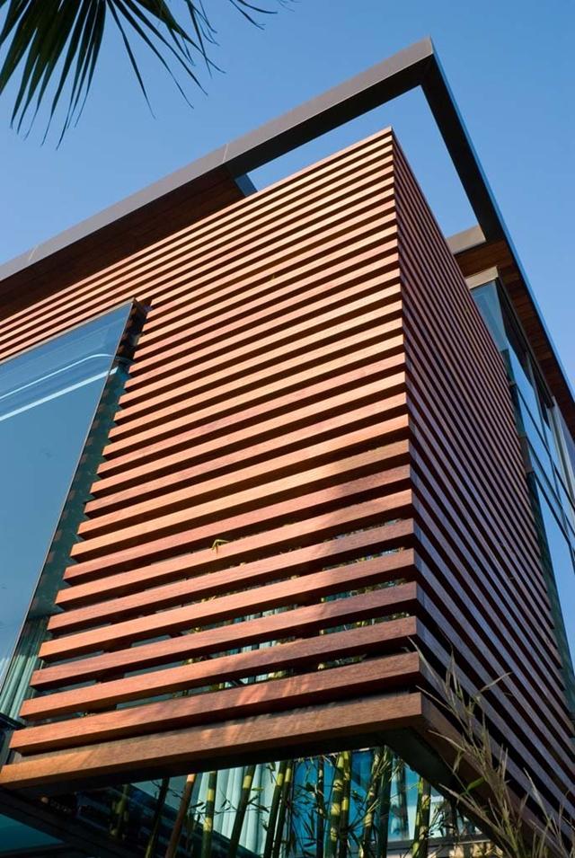 Wooden planks on the facade