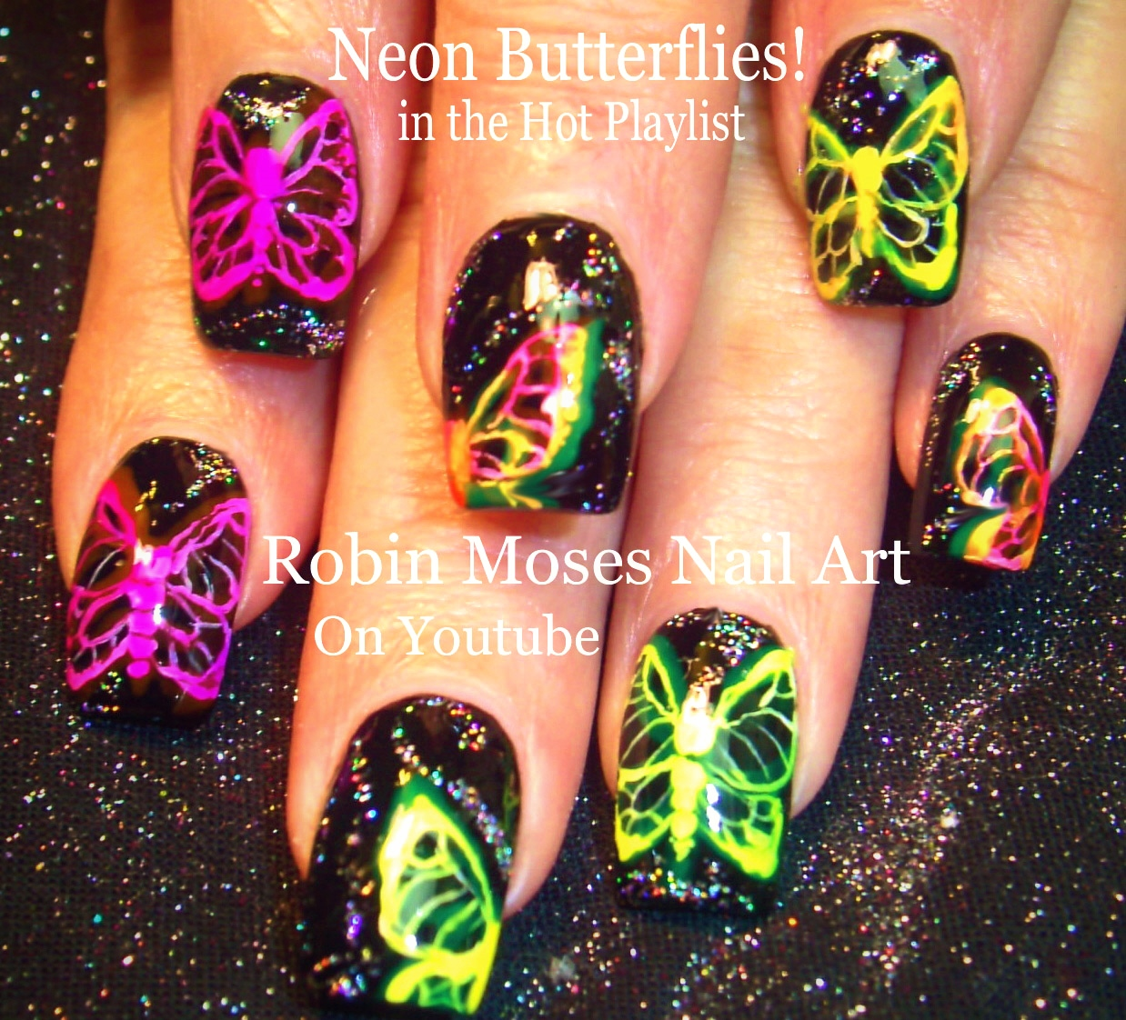 Robin Moses Nail Art February 2015: Robin Moses Nail Art: Green Fairy Butterfly Moth Nails
