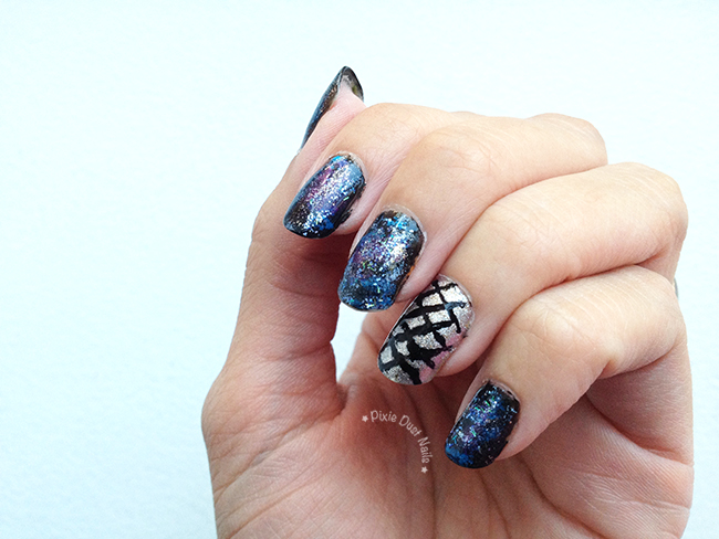Galaxy Nails inspired by Epcot, Spaceship Earth