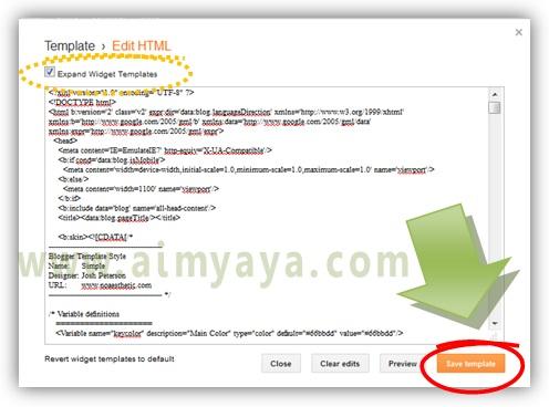 Gambar: Mengganti template dengan mengedit kode HTML di blogger