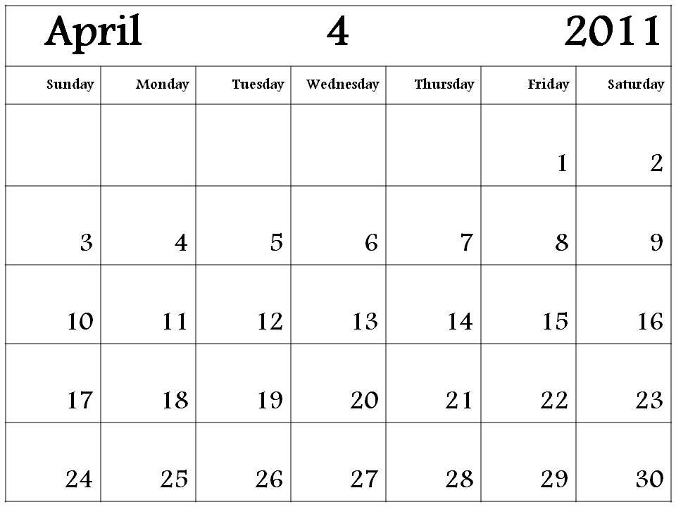 2011 april calendars. Blank Calendar 2011 April