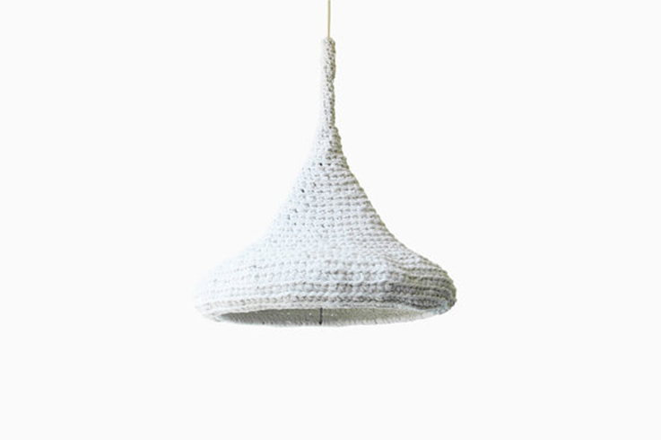 crochet hanging light, white