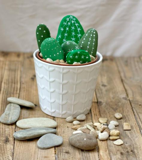 painted rock cactus pattern for home decor