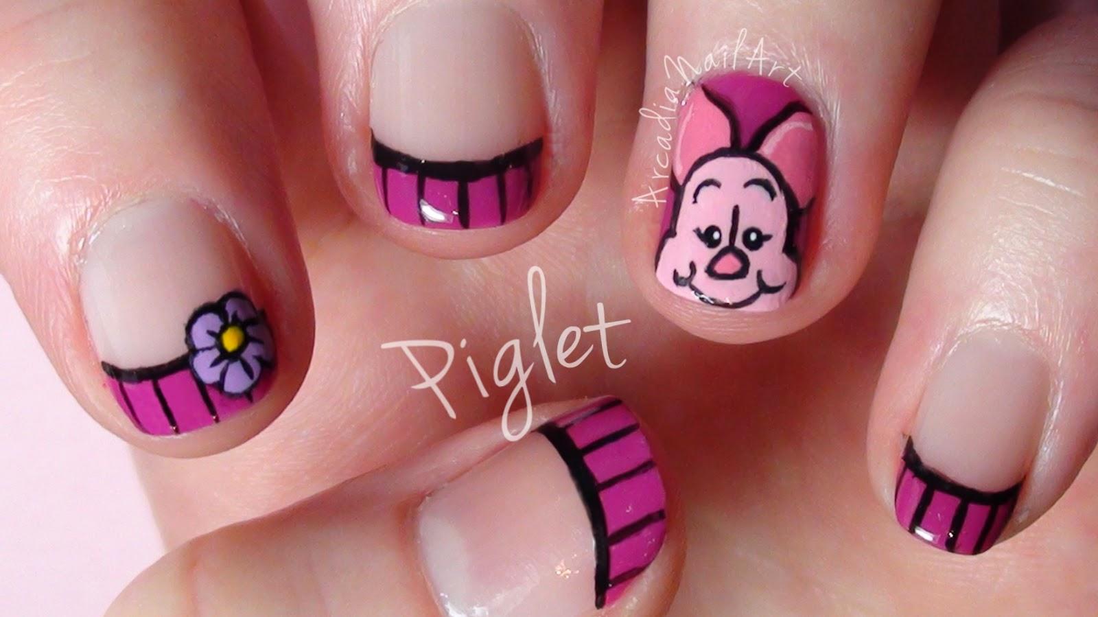 Arcadianailart Piglet Nail Art