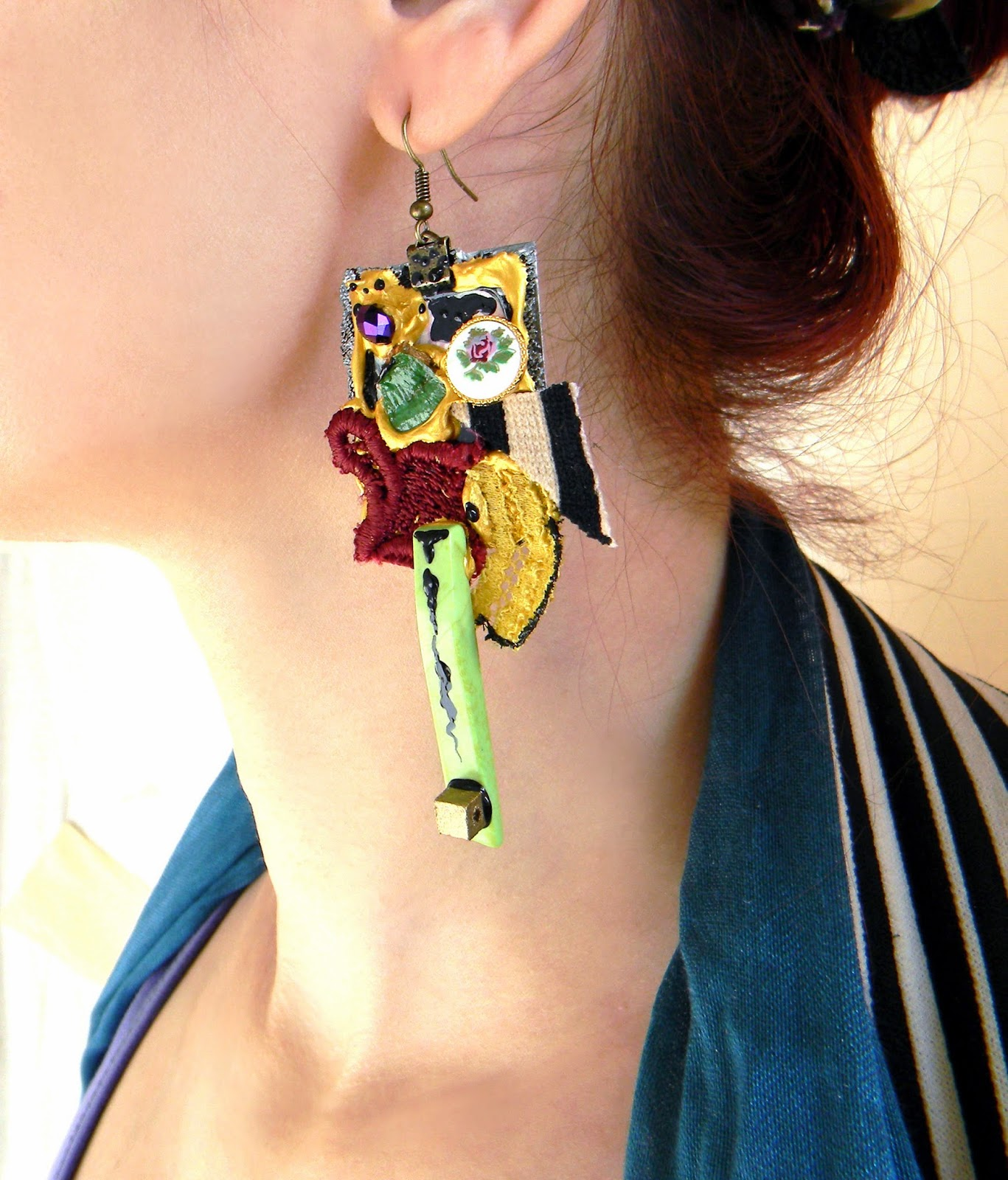 Gypsy Fashion Collage Earrings, Statement Jewelry with Hand Painted Details, Howlite, Beads and Lace Adornments