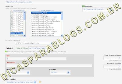 configurar o contador de visitas do blog