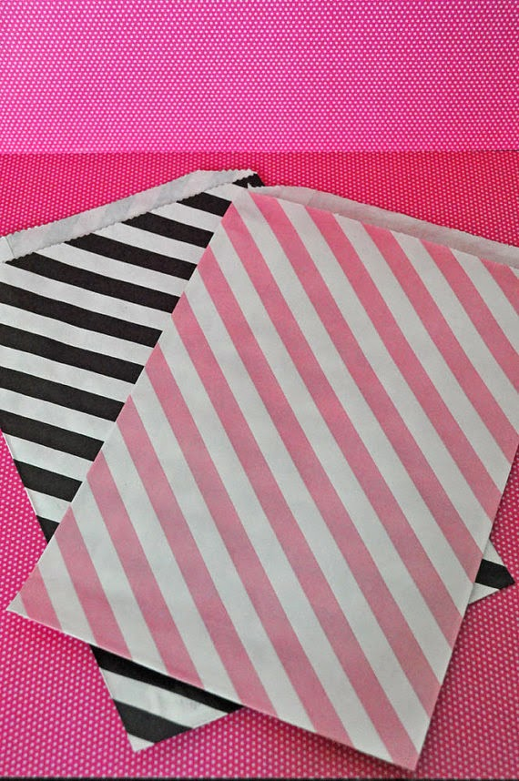 24 Pink and Black Striped Combo Large Favor Bags Paper Party Bags Baby Shower