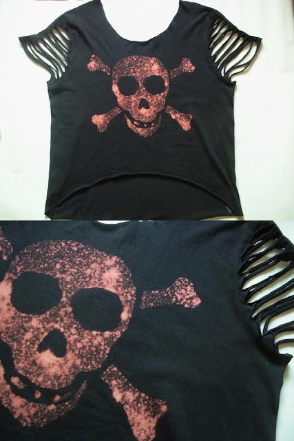 diy czaszka koszulka cięcia moda gothic blog