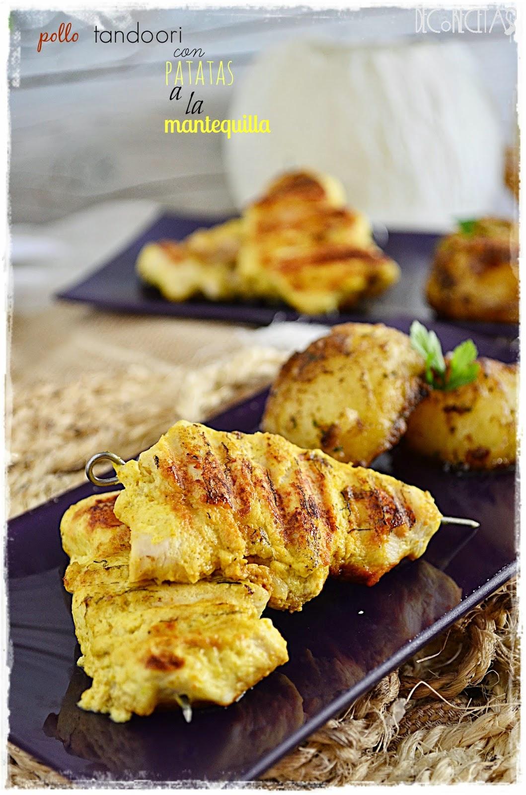 Pollo tandoori con patatas a la mantequilla