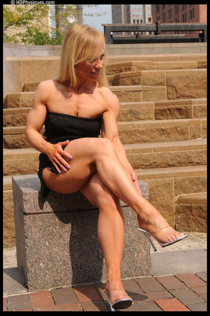 Wynne Regan Models Her Muscular Legs In Heels