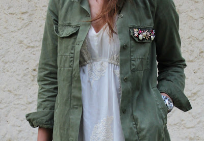 Camisa verde militar Zara