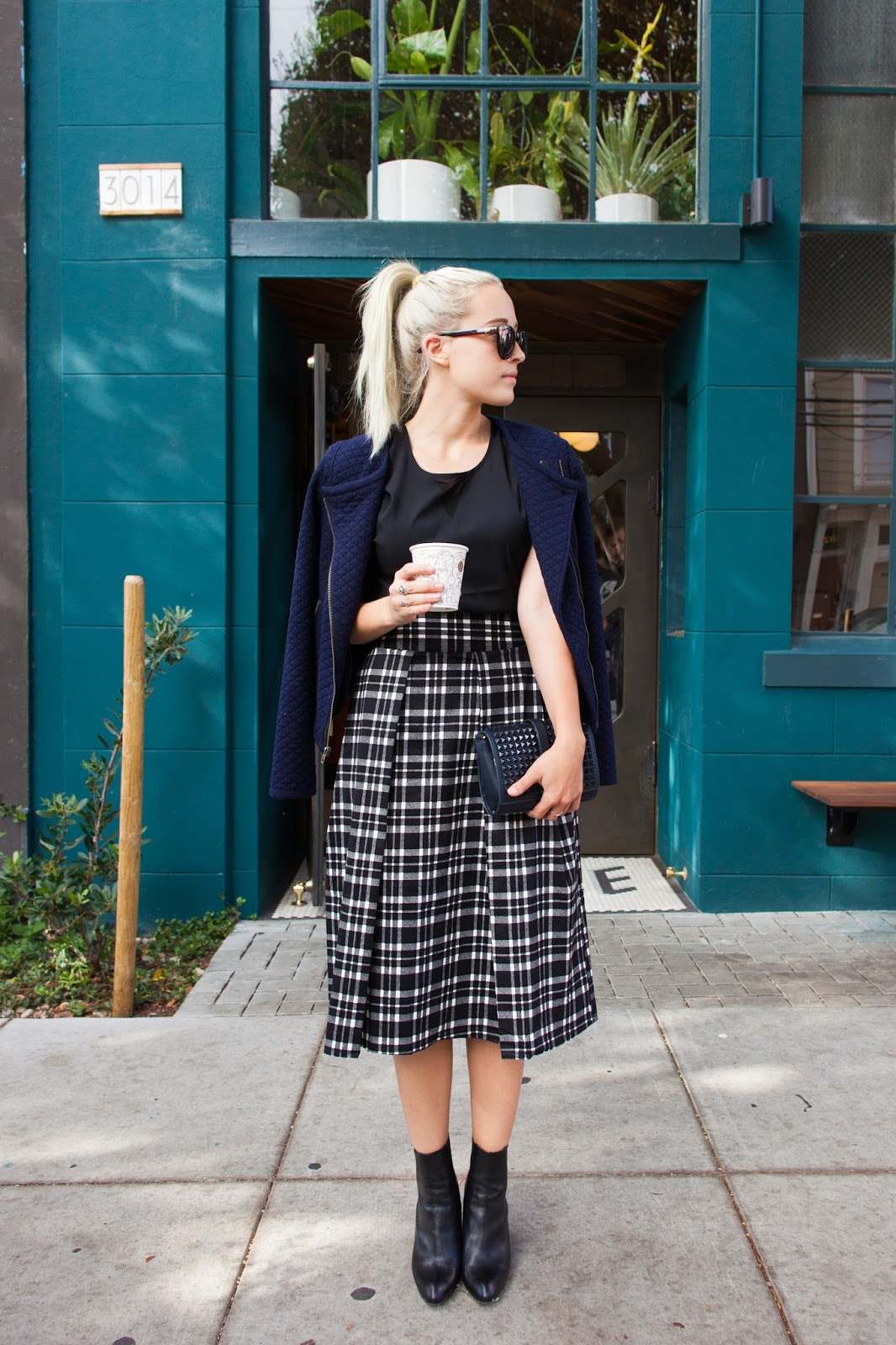 French Connection Blouse, Sanctuary Jacket and JOA Midi Skirt from LE TOTE on San Francisco Style Blogger Bryn Newman of Stone Fox Style