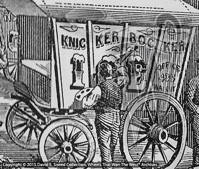 This rare illustration from the Wheels That Won The West® Archives portrays a scene from the Paint shop of the Knickerbocker Wagon factory.