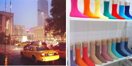 falke socks, nyc, rain, taxi cab