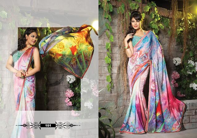 Excellent Unique Designer Multi Colored Digital Printed Viscose saree