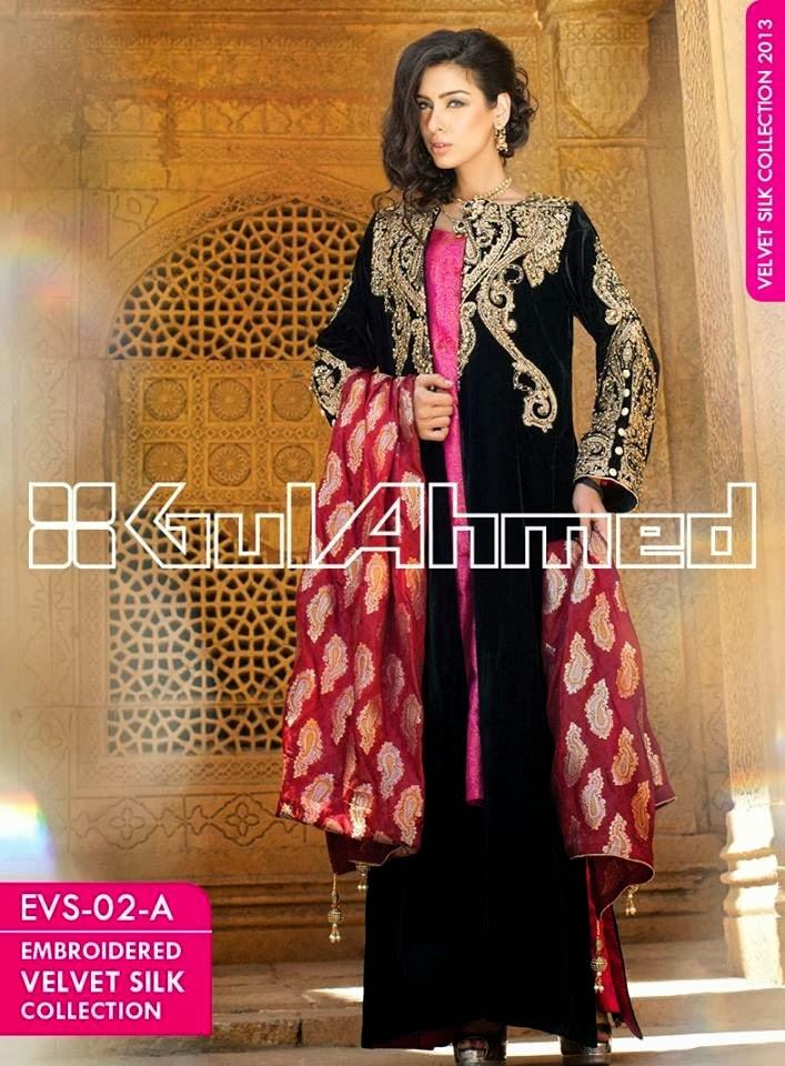 GulAhmedEmbroideredSilkVelvetCoats wwwfashionhuntworldblogspotcom 005 - Gul Ahmed Embroidered Silk Velvet Coats 2014
