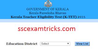 Kerala TET Scorecard / Marks 2015