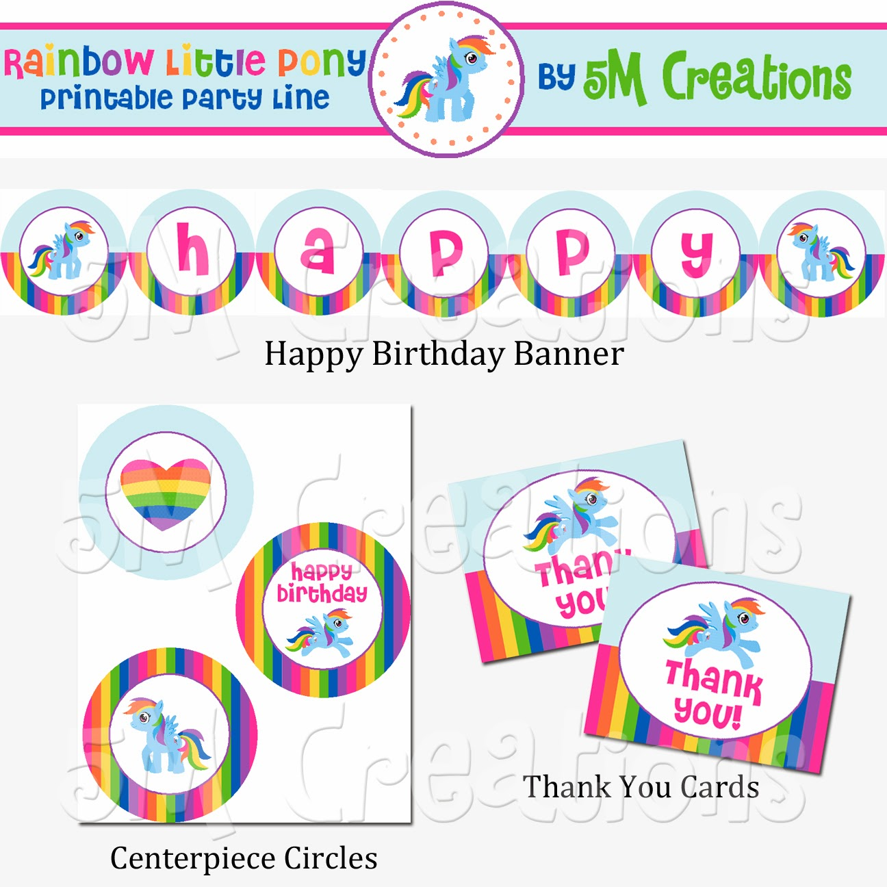 5M Creations: My Little Pony Inspired Birthday Party - Rainbow Pony ...