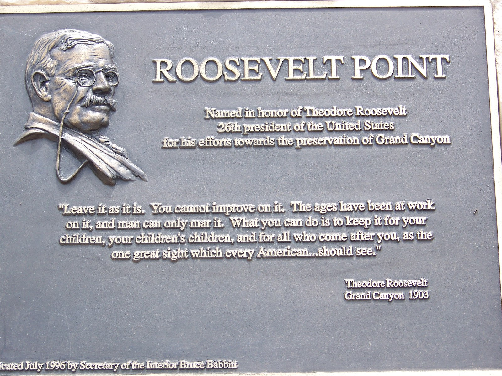 Tim and Kate's National Park Tour and More 2012: GRAND ... Theodore Roosevelt Grand Canyon Quote