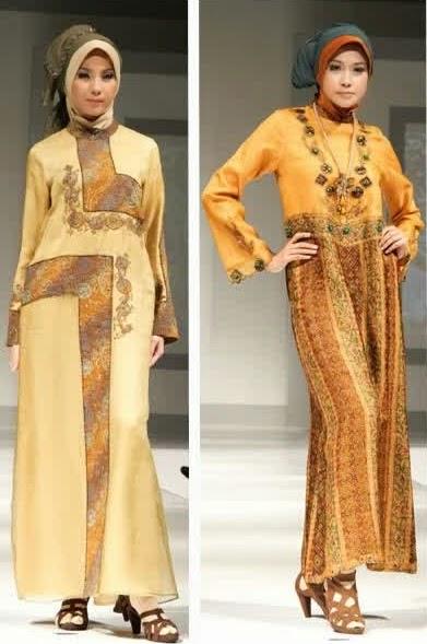 model baju pesta muslimah batik modern terbaru